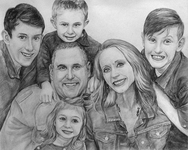 charcoal family portrait