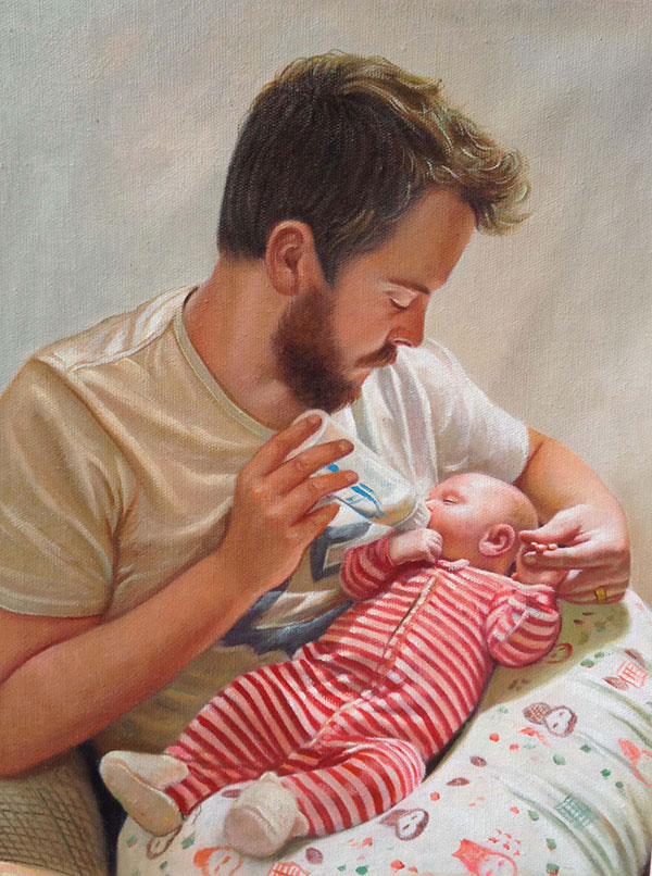 an oil painting of a father feeding his child