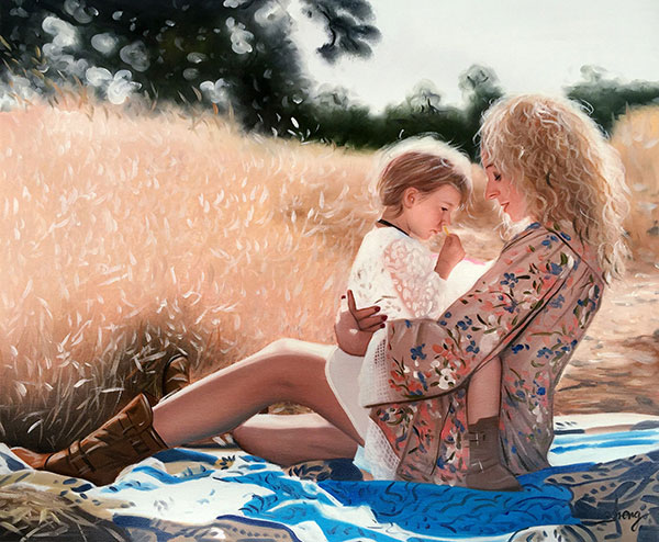 an oil portrait of mom and child in meadows
