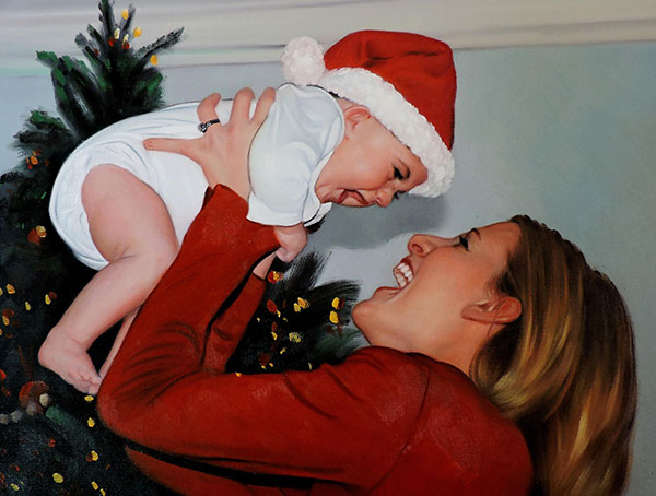 cute baby and mum at christmas