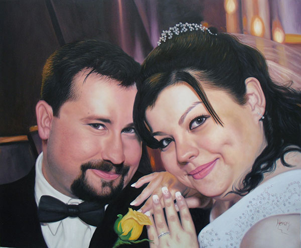 an oil painting of a wedding