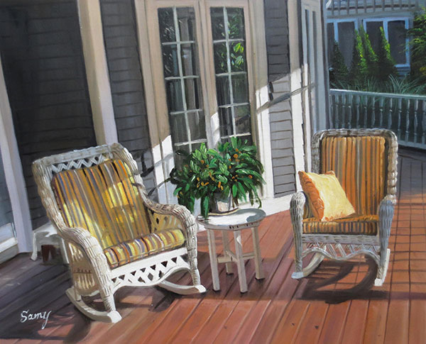 local artist oil painting on canvas of front porch