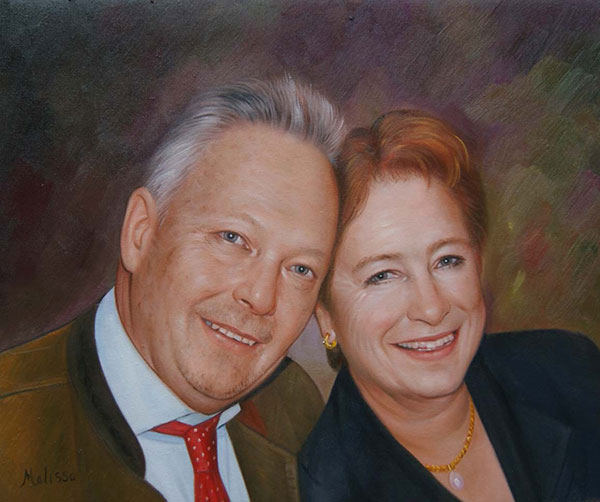 photo to painting of happy couple with colored eyes