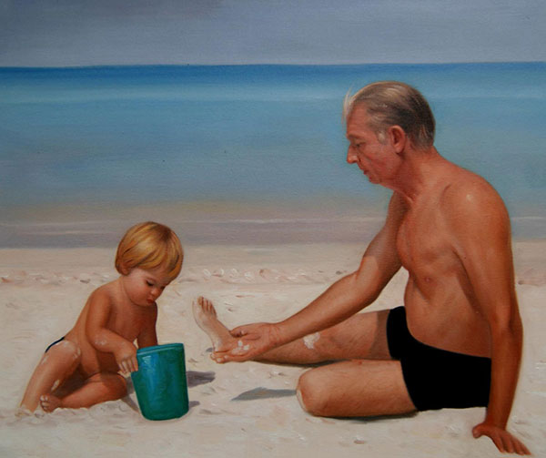 an oil painting of grandfather and grandkid playing in sand