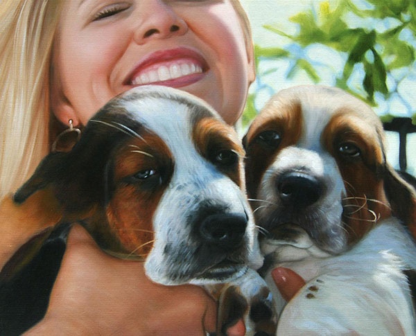 photo to oil painting of happy woman with two puppies