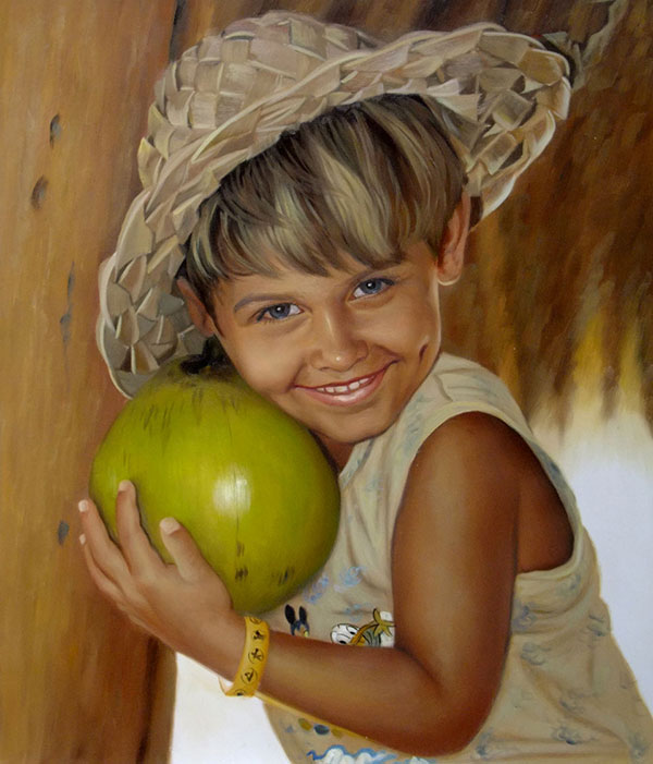 an oil painting of a little boy with a hat holding a fruit