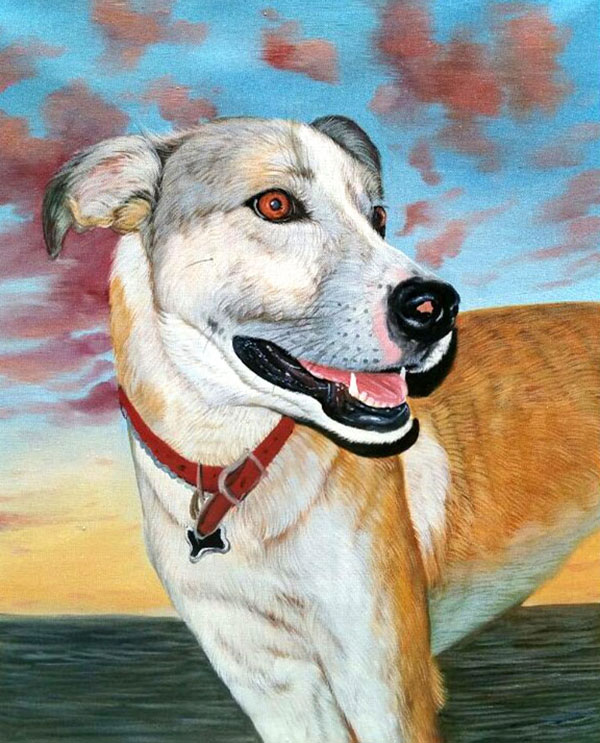 custom acrylic painting of a Mutt out at sea