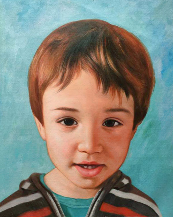 an oil painting of a young boy with brown hair