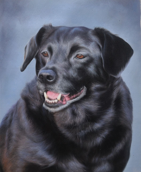custom oil paiunting of black dog brown eyes
