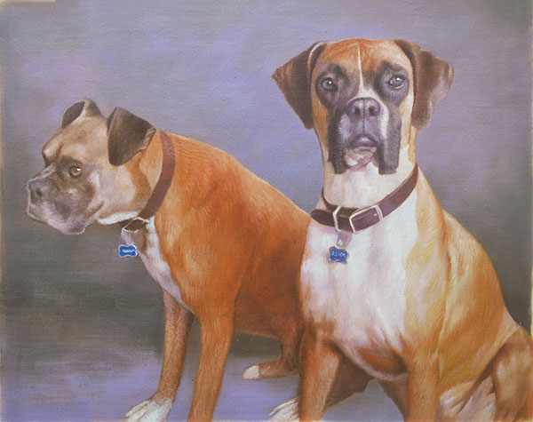 handmade oil painting of two boxers