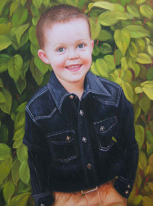 an oil paninting of a young boy in the garden