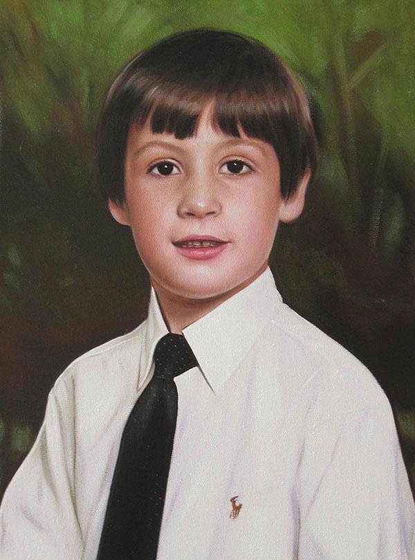 a custom oil portrait of a young boy