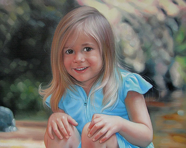 an oil painting of a young little girl in a light blue