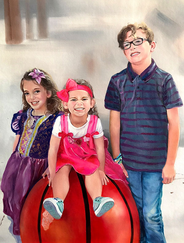 an oil painting of siblings posing together.