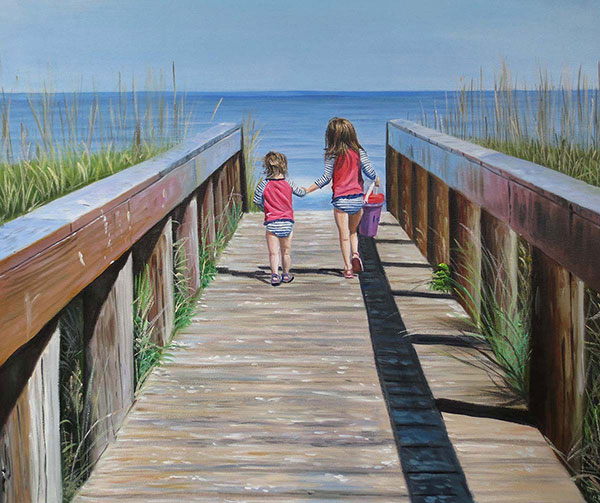 an oil painting of sisters at the beach