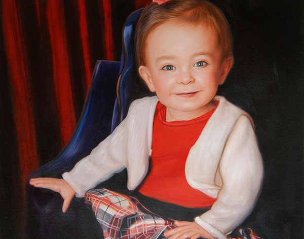 an oil painting of a little toddler sitting on a char