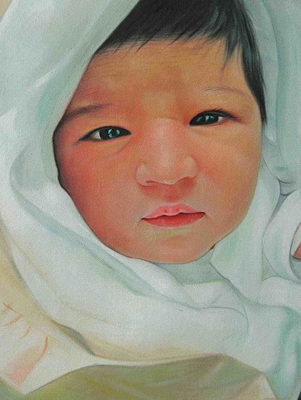 an oil painting of a toddler in a blanket