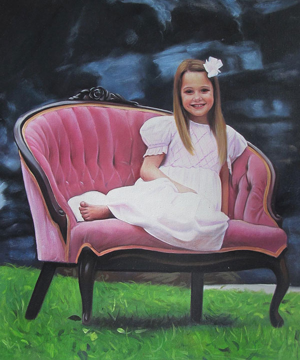a custom oil painting of a child sitting in the chair