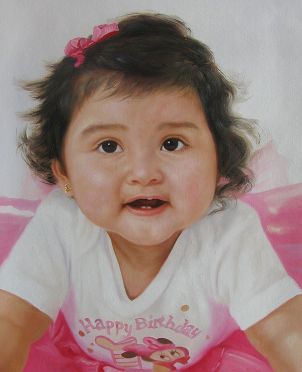 an oil painting of young child with pink bow