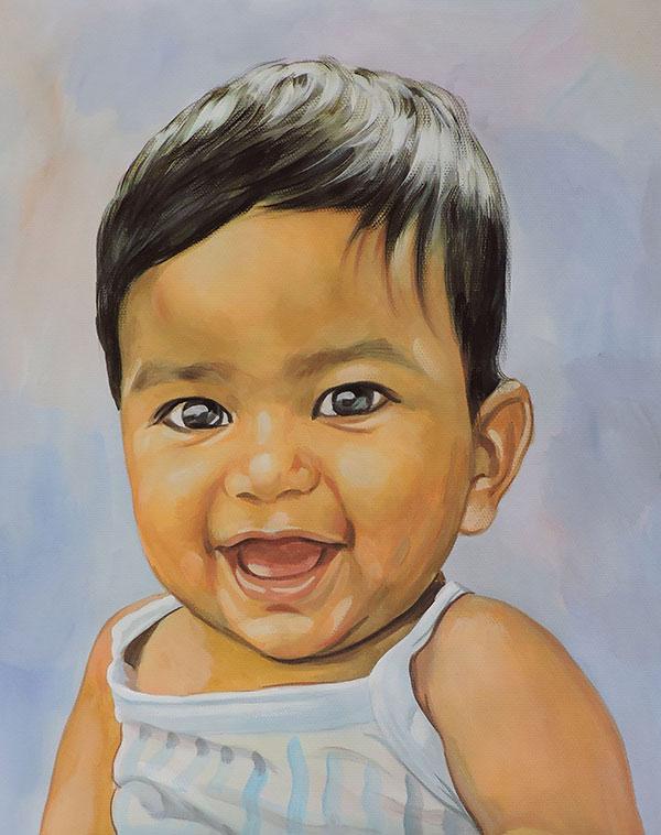 pastel portrait of a child