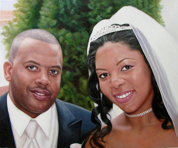 an oil wedding painting of black couple