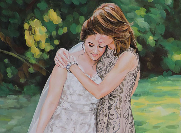 painting of a bride with mother painted in pastel