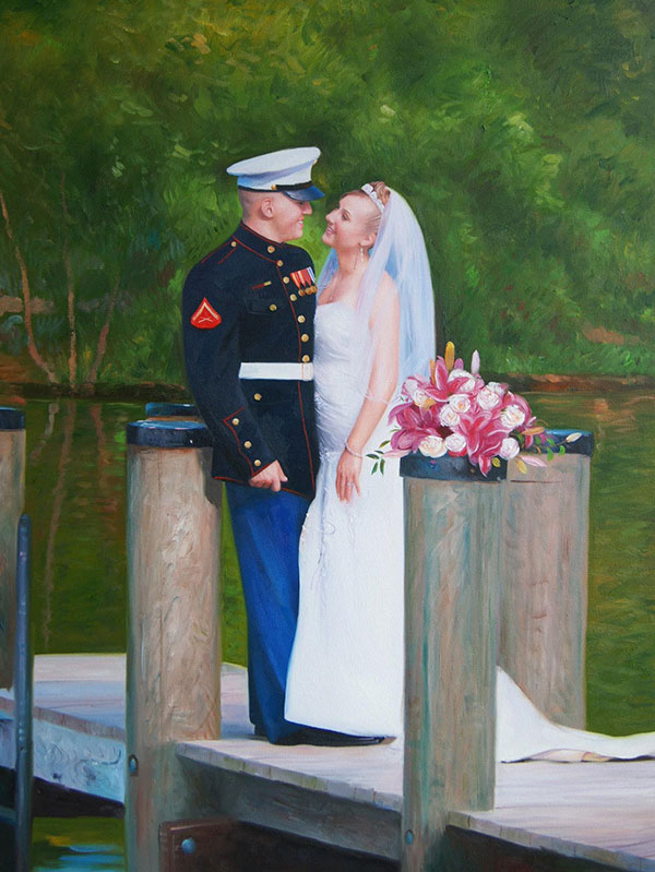 an oil painting of solider and a bride on the dock