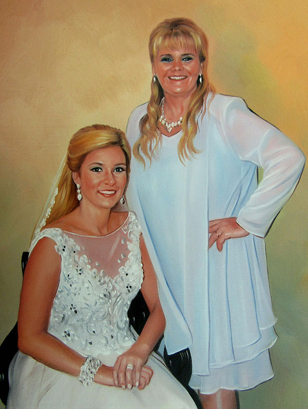 a customt oil painting of the bride and her mother