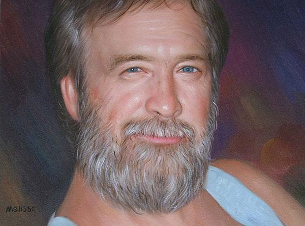 a custom oil portrait of a man with grey beard