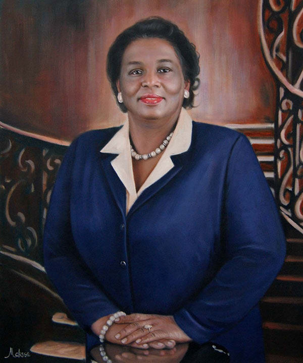 a custom oil painting of a black female in blue suit