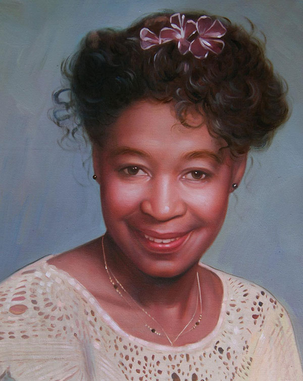 a custom oil portrait of a black female with flower pin hair