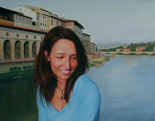 a custom oil portrait of a woman on a boat river