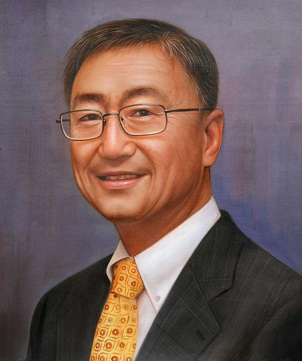 an oil portrait of an asian man in suit