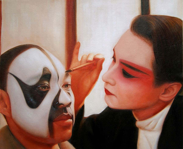 a custom oil painting of friends with mask
