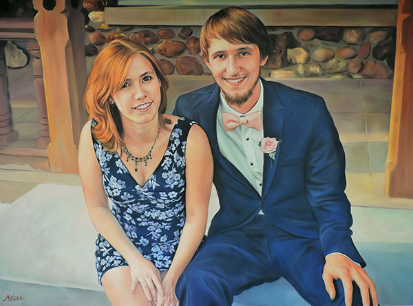 turn pictures into art oil painting of happy couple sitting