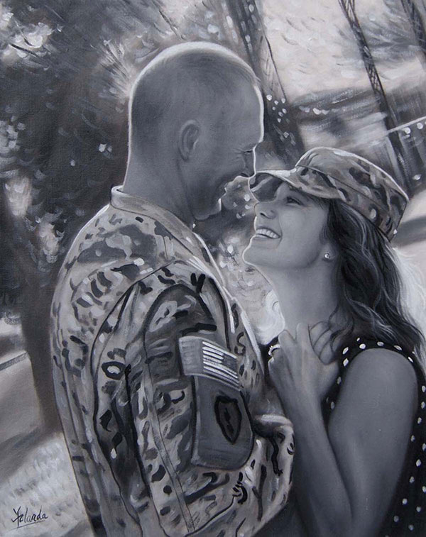 black and white oil painting of happy soldier couple