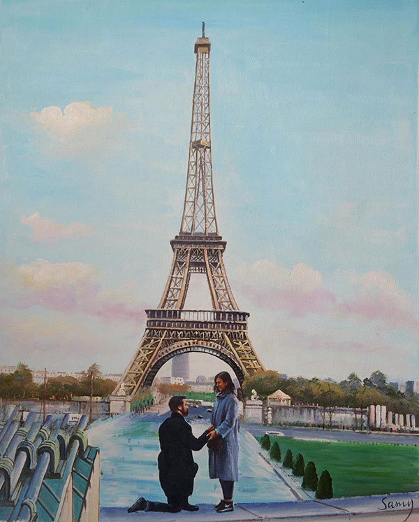 painting from photo of man proposing near Eiffel Tower