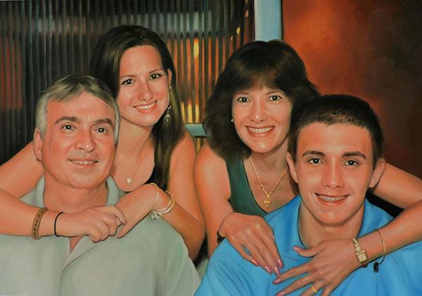 Familienfoto handgemalt in Öl