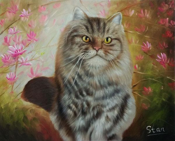 gatto quadro ad olio da fotografia