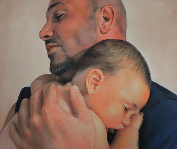 an oil paniting of a father holding his child