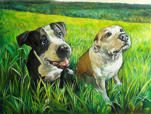 custom art two cute dogs