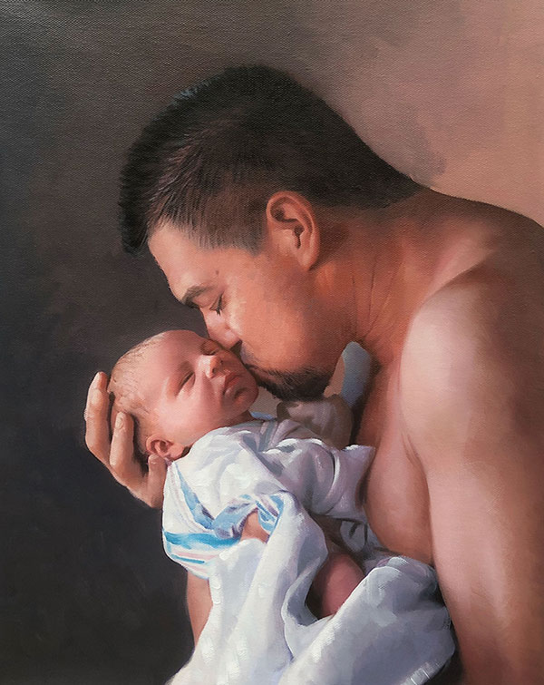 an oil painting of asian father kissing a baby