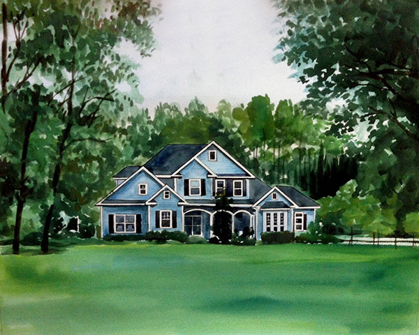 custom watercolor painting blue house surrounded with trees