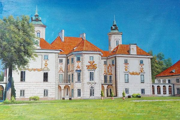 Custom oil handmade painting big white limestone house