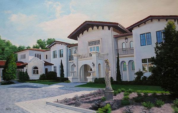 Handmade oil painting white limestone house