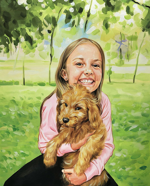 pastel portrait of child with puppy
