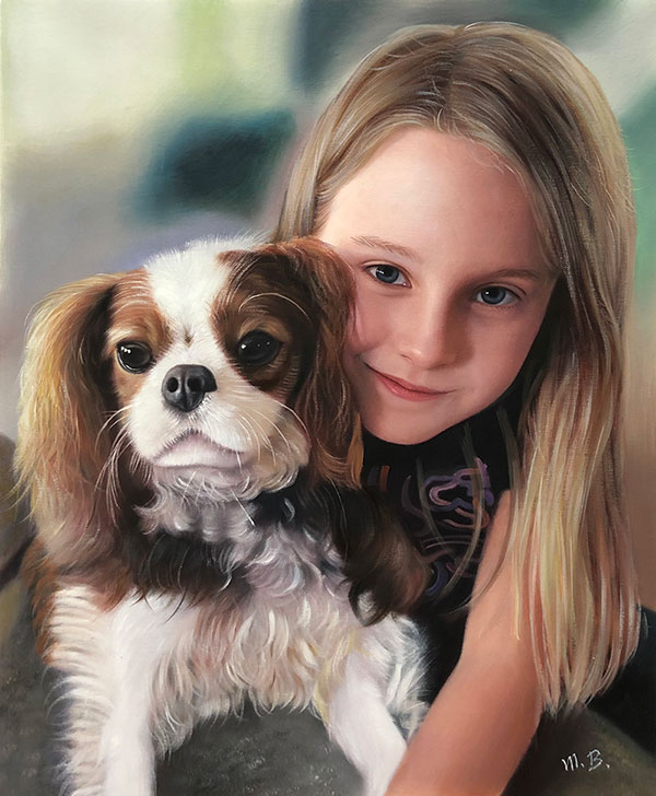 Hund mit Mädchen portratiert in Öl