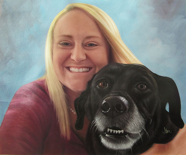 convert picture to oil painting woman smiling with black dog