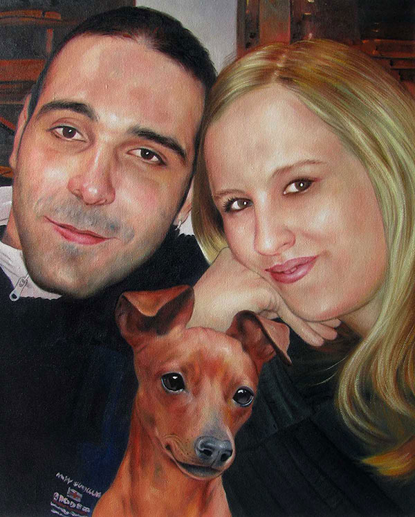 convert picture to painting couple with pet small brown dog
