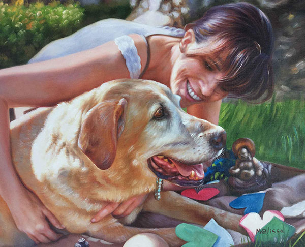 Custom oil painting owner and lab on picnic